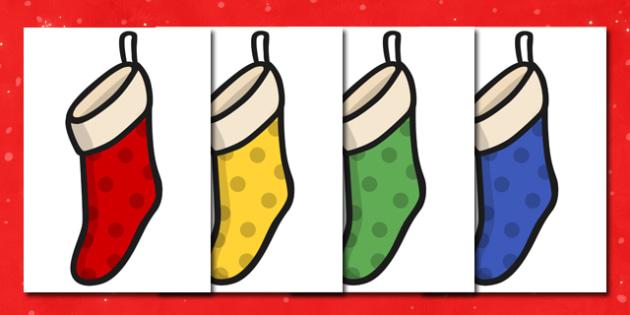 Christmas A4 Stockings Spots Editable  - christmas, display