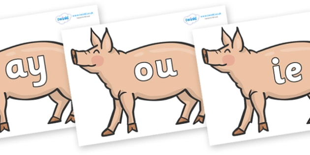 Phase 5 Phonemes on Pig to Support Teaching on Pig in the Pond - Phonemes, phoneme, Phase 5, Phase five, Foundation, Literacy, Letters and Sounds, DfES, display
