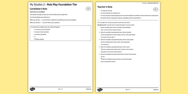 Mes études 2 Jeu de rôle Foundation Tier - french, Studies, education, études, éducation, role play, foundation, speaking