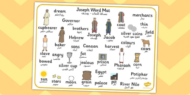 Joseph Word Mat Arabic Translation - arabic, joseph, word mat, mat, words