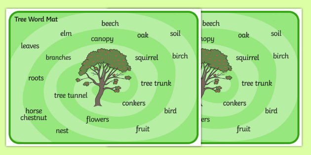 Tree Word Mat - Tree words, word mat, Foundation stage, knowledge and understanding of the world, investigation, tree, leaves, branches, trunk, roots, elm, oak, birch, beech