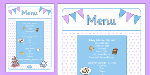 Afternoon Tea Role Play Menu - afternoon tea, role play, menu, food