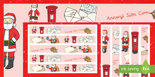 Letters to Father Christmas Display Borders Welsh