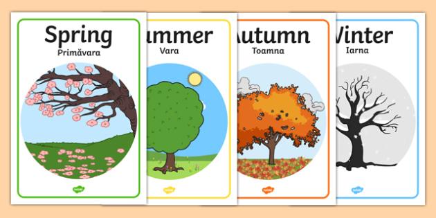 Four Seasons Posters A4 Romanian Translation - romanian, Seasons, season, autumn, winter, spring, summer, fall, seasons activity, seasons display, four seasons, foundation stage, topic