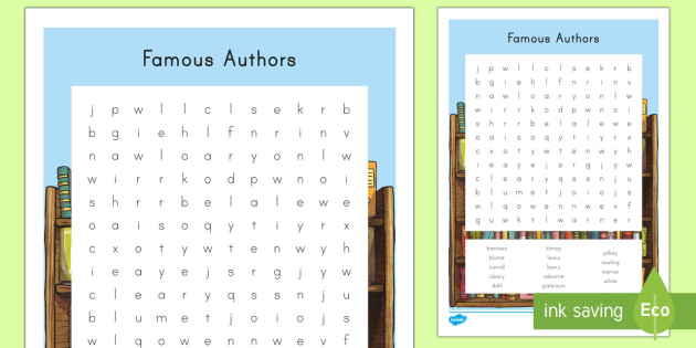 Famous Authors Word Search - World Book Day, Young Adult -7041