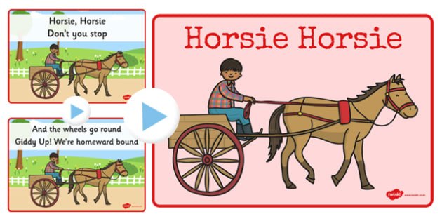 Horsie Horsie Song PowerPoint - horsie horsie, song, powerpoint