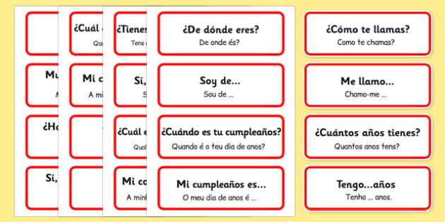 Spanish Basic Phrases Word Cards Portuguese Translation