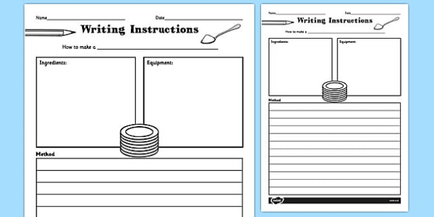 Writing Instructions Recipe Writing Instructions Recipe - Writing a cookbook template