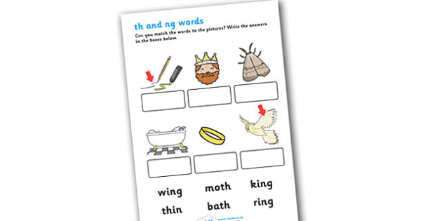 Quot Th Quot And Quot Ng Quot Sounds Matching Activity Worksheet Worksheet