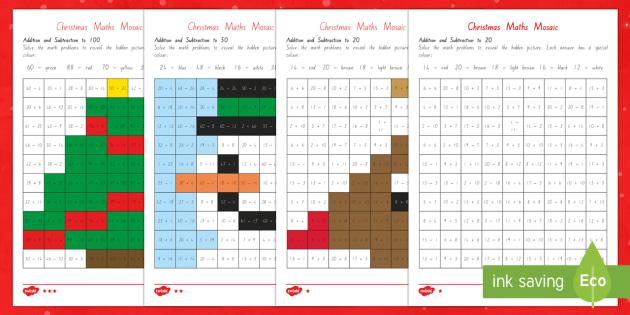 Christmas Maths Mosaic Activity Sheets - New Zealand Christmasadditionsubtractionmathematicsrelievingindependent activitychristmas math