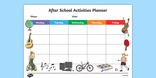 after school activities planner after school activites planner