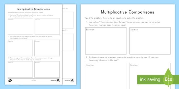 Multiplicative Comparisons Equation Writing Worksheet ...