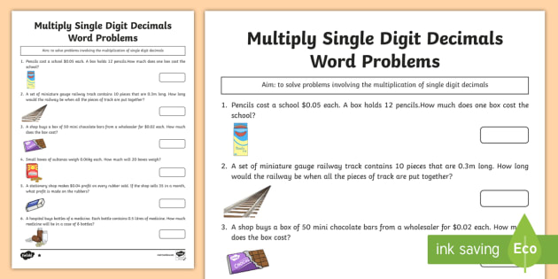 Grade 6 Multiply Single Digit Decimals Word Problems Worksheet