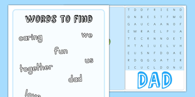 Fathers Day Wordsearch Card - cards, gifts, presents, father, dad