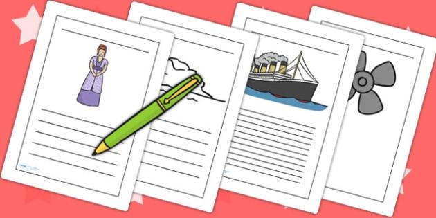 The Titanic Writing Frames - titanic, writing, write, templates