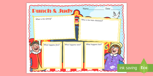 Punch and Judy Story Review Writing Frame - writing, frame, punch