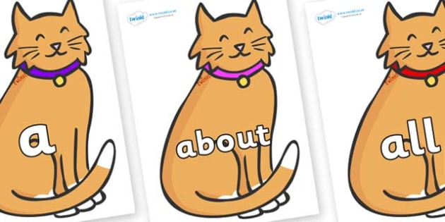 100 High Frequency Words on Pussy Cats - High frequency words, hfw, DfES Letters and Sounds, Letters and Sounds, display words