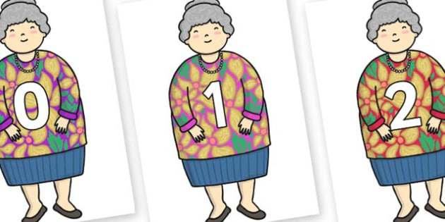 Numbers 0-100 on Little Old Lady - 0-100, foundation stage numeracy, Number recognition, Number flashcards, counting, number frieze, Display numbers, number posters
