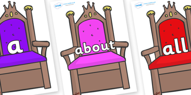 100 High Frequency Words on Thrones - High frequency words, hfw, DfES Letters and Sounds, Letters and Sounds, display words