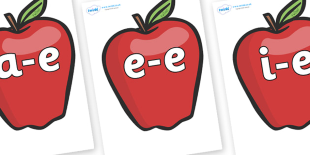 Modifying E Letters on Red Apples - Modifying E, letters, modify, Phase 5, Phase five, alternative spellings for phonemes, DfES letters and Sounds