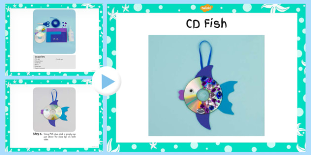 CD Fish Craft Instructions PowerPoint (Under the Sea) - under the sea, crafts