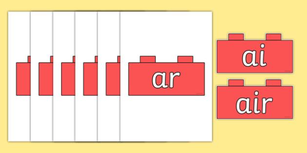 Phase 3 Phonemes on Building Bricks - phase 3, phonemes, building, bricks