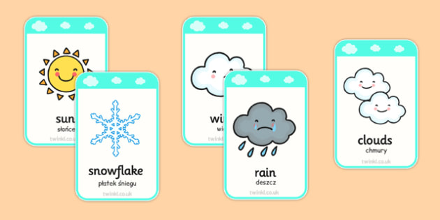 Fiszki ze słownictwem Pogoda po polsku - słońce, deszcz