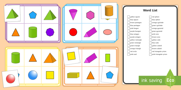 graphic about Shape Bingo Printable named 2D and 3D Condition Bingo - 2D and 3D Form Bingo -, 3d 2d