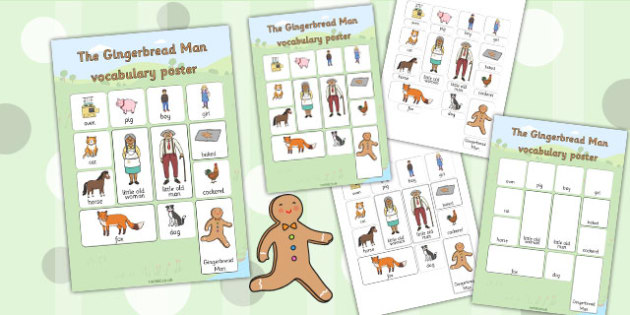The Gingerbread Man Vocabulary Poster - gingerbread man, vocab