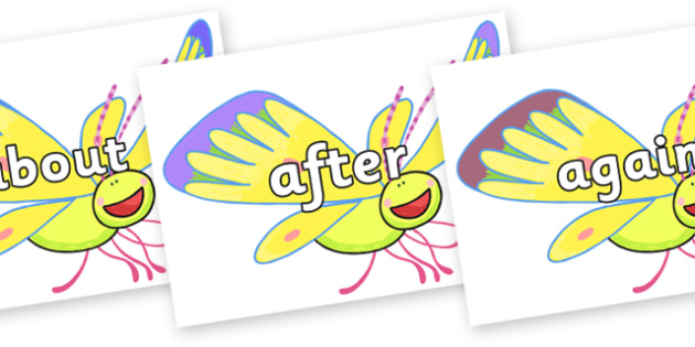 KS1 Keywords on Yellow Butterfly to Support Teaching on The Crunching Munching Caterpillar - KS1, CLL, Communication language and literacy, Display, Key words, high frequency words, foundation stage literacy, DfES Letters and Sounds, Letters and Soun