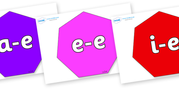 Modifying E Letters on Heptagons - Modifying E, letters, modify, Phase 5, Phase five, alternative spellings for phonemes, DfES letters and Sounds