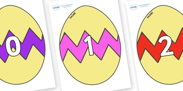 Numbers 0-50 on Easter Eggs (Cracked) - 0-50, foundation stage numeracy, Number recognition, Number flashcards, counting, number frieze, Display numbers, number posters