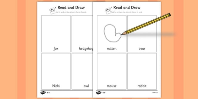The Mitten Read and Draw Worksheet - the mitten, read, draw