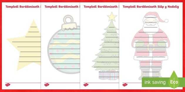 Templedi Barddoniaeth Siâp y Nadolig - nadolig, ndolig, christmas,  cerddi, barddoniaeth, siap, siapiau, ysgrifennu, Welsh
