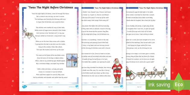 graphic regarding Twas the Night Before Christmas Poem Printable called KS2 Twas The Night time Ahead of Xmas Poem - Mouse, Santa, St