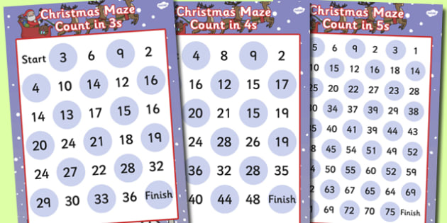 'Counting in..' (3 to 10) Christmas Maze Activity Sheet Pack - christmas, maze, christmas maze, numbers to ten, counting games, christmas game, themed counting activity, counting activity, worksheet