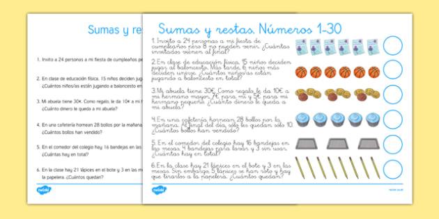 Problemas con sumas y restas 1-30 - operaciones, comprensión, uno, treinta, resolver problemas matemáticos