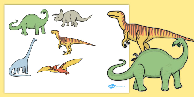 Five Enormous Dinosaurs Counting Song Cut-Outs - counting, song