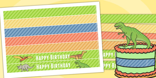 Dinosaur Themed Birthday Party Cake Ribbon - party, cake, parties