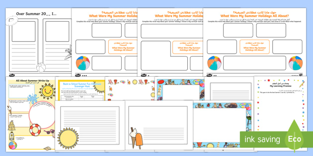 First Day Back Activity Pack Arabic/English - holidays, summer, back to school, new class, new year, return, holiday, break, first day, 1st day, E