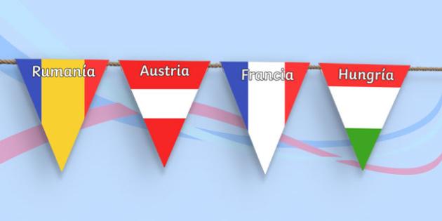 Euro 2016 Country Flag Bunting Spanish - euro 2016, football, euro, 2016, country, flag, bunting