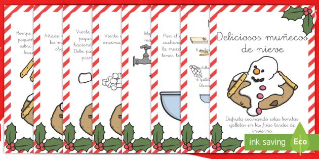 Deliciosos muñecos de nieve Receta - cocina, cocinar, galletas, pastelería, nieve, invierno, navidad, Spanish