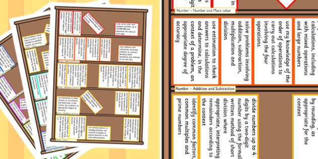 2014 Curriculum Year 6 Maths Assessment Target Colouring Bookshelf