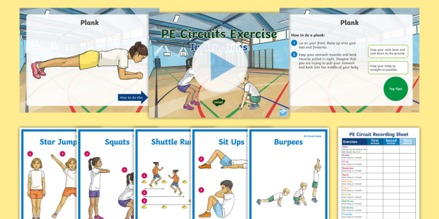 PE Circuit Cards with Key Teaching Points PowerPoint Pack - gym, fitness