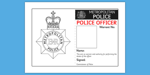 Police Identity Badge Role Play Template Teacher Made