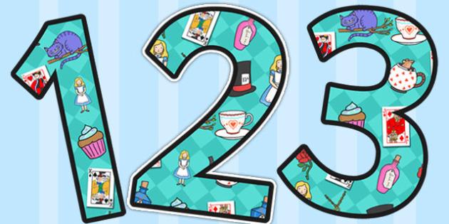 Alice in Wonderland Display Numbers - display, numbers, alice
