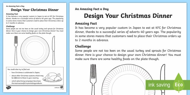 Design Your Christmas Dinner Activity Sheet - Amazing Fact Of The Day, activity sheets, powerpoint, starter, morning activity, December, Christmas