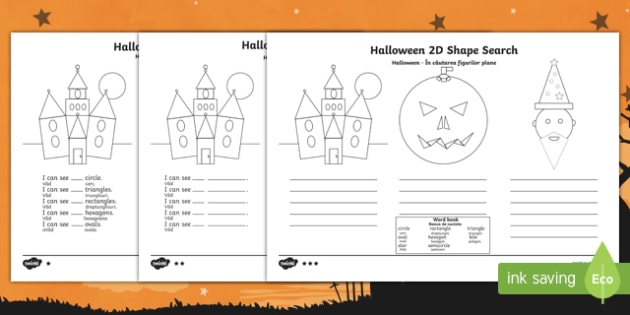 Halloween 2D Shape Search Activity Sheet Romanian Translation-Romanian-translation