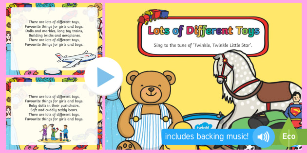 Lots of Different Toys Song PowerPoint - EYFS, Early Years, Toys, teddy bears, toy shop, song