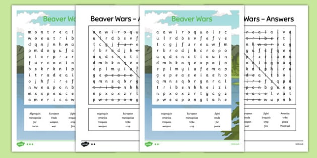 Beaver Wars Word Search - canada, Aboriginal, Canada, Native, First Nations, word search, fur trade